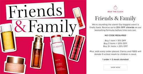 Clarins Friends Family Sale 2021